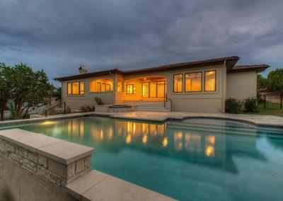 Custom Geometric Pool Night Photo - Westbrook Pools Austin