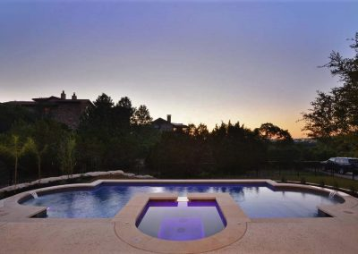 unique swimming pool designs - Austin Texas at dusk - Westbrook Pools